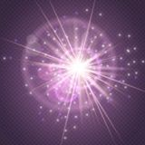 Sparks glitter glowing,star burst explosion glow and lens flare isolated on purple transparent background.Show,Concert stock illustration