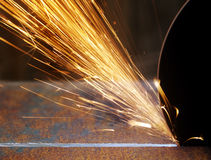 Sparks from grinder Royalty Free Stock Photography