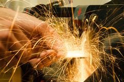 Sparks from grinder Royalty Free Stock Photos