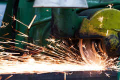 Sparks from grinding machine. Industrial, industry Stock Image