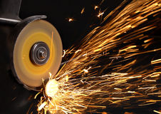 Sparks at grinding material Stock Photo