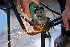 Sparks while grinding Royalty Free Stock Image