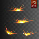Sparks isolated on transparent background. Vector light effect Stock Photography