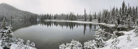 Sparks lake in a snowy day on June Stock Photo