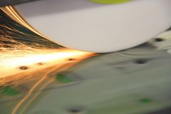 Sparks from levelling grinder Stock Images