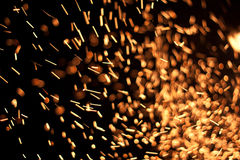 Sparks. A lot of red sparks of the fire Royalty Free Stock Photography