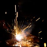 Sparks during metal cutting Stock Image