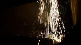 Sparks. Processes cutting metal laser machine royalty free stock photography