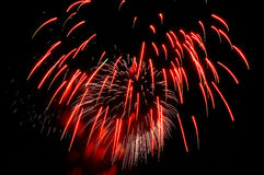 Sparks of red and white fireworks against the black sky Royalty Free Stock Photo