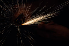 Sparks from a saw Stock Image