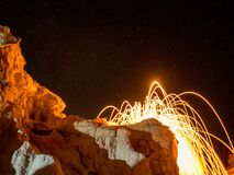 Spark from steel wool. Sparks from spinning steel wool look like a lava eruption Royalty Free Stock Image