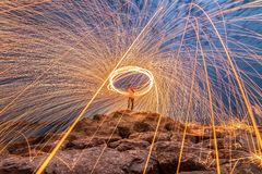 Sparks from steel. Steel wool stock images