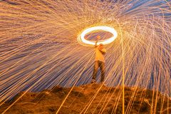 Sparks from steel. Steel wool. Is a beautiful night royalty free stock image