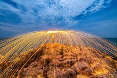 Sparks from steel. Steel wool. Is a beautiful night royalty free stock images