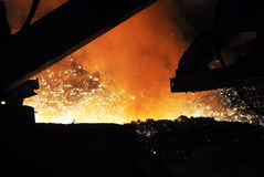 sparks after steelmaking the photo was made ??in a steel plant located in ukraine Royalty Free Stock Photography