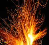 Sparks. Traces of fire sparks above a campfire Royalty Free Stock Images