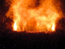 Sparks visible during the combustion of fine coal Royalty Free Stock Photography