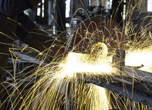 Sparks in workshop Stock Photos