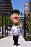 Sparky Anderson papier-mache-behangt Vertolking viert het Openen op de q-Lijn in Detroit Stock Foto's