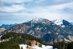 Sparren en bergen in Duitsland Royalty-vrije Stock Foto