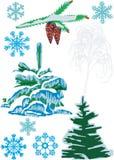 Sparren, kegels en sneeuwvlokken royalty-vrije illustratie