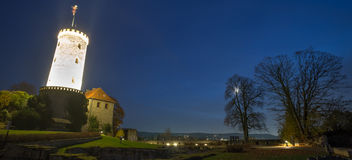 Sparrenburg kasztel Bielefeld Germany w wieczór Obraz Stock