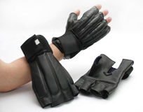 Sparrings karate gloves. Black sparrings karate gloves and hand Stock Photo