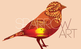 Sparrow Art with sun view. Sparrow design for art with Sun Rise & Sea view Stock Photography