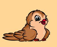 Sparrow bird cheerful cartoon illustration Stock Photography
