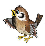 Sparrow bird. Drawing a fabulous character tweets pack Royalty Free Stock Photo
