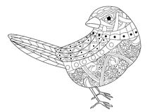 Sparrow coloring book vector for adults. Sparrow coloring book for adults vector illustration. Anti-stress coloring for adult. Zentangle style bird. Black and Royalty Free Stock Photography