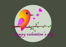Sparrow. Congratulations to the St. Valentine's Day Stock Image
