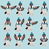 Sparrow with hats flat set Royalty Free Stock Photos