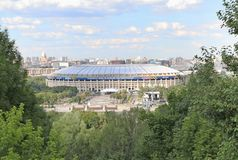Sparrow Hills metro station in Moscow, Russia. Sparrow Hills metro station with view to Luzhniki stadium 83000 people, the main host of FIFA 2018 games in stock images