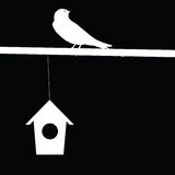 Sparrow and house vector illustration Royalty Free Stock Images