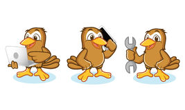 Sparrow Mascot Vector with phone Stock Photography