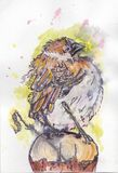 Sparrow. Wathercolor ink bird sparrow Royalty Free Stock Images