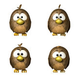 Sparrows. 3d funny cartoon sparrows on white background Stock Photo