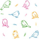 Sparrows and feathers wallpaper Royalty Free Stock Image