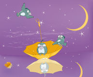 Sparrows, night, stars, umbrella Stock Image