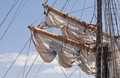 Spars with rigging of a windjammer Stock Images
