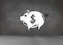 Sparschwein auf dunkler Wand Stockfotos