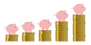 Sparschwein auf goldener Münzenverkaufszunahme lizenzfreie abbildung