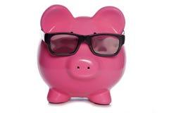 Sparschwein, das Gläser 3D trägt Lizenzfreies Stockbild