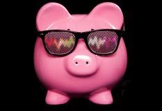 Sparschwein, das irreredende Gläser trägt Stockfoto