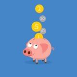 Sparschwein, das Münzen sammelt Nette Karikaturabbildung Stockbild