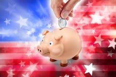 Sparschwein der amerikanischen Flagge Stockfotos