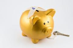 Sparschwein in der Goldfarbe ist- verschlossen Lizenzfreie Stockfotografie