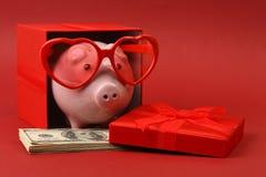 Sparschwein in der Liebe mit der roten Herzsonnenbrille, die in der Geschenkbox mit Band und mit Stapel des Geldamerikaners hunde Lizenzfreie Stockfotografie