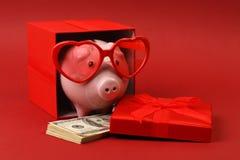 Sparschwein in der Liebe mit der roten Herzsonnenbrille, die in der Geschenkbox mit Band und mit Stapel des Geldamerikaners hunde Lizenzfreie Stockfotos